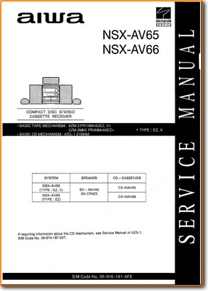 Aiwa NSXAV-65 Mini Shelf System Main Technical Manual - PDF & Tech Help* | English