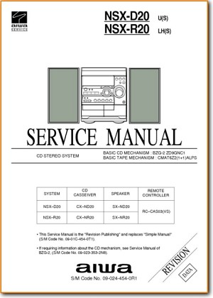 Aiwa NSXR-20 Mini Shelf System Addendum - B Technical Manual - PDF & Tech Help* | English