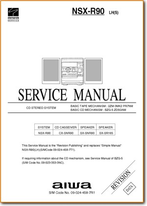 Aiwa NSXR-90 Mini Shelf System Main Technical Manual - PDF & Tech Help* | English
