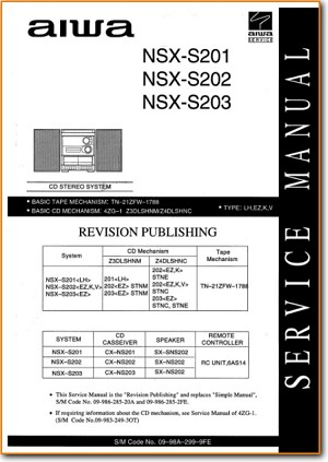 Aiwa NSXS-201 Mini Shelf System Main Technical Manual - PDF & Tech Help* | English