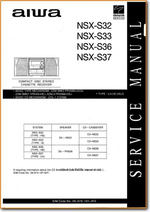 Aiwa NSXS-36 Mini Shelf System Addendum - A Technical Manual - PDF & Tech Help* | English