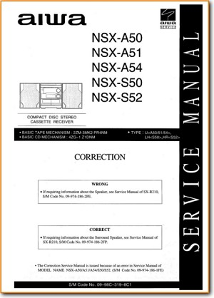 Aiwa NSXS-50 Mini Shelf System Addendum - B Technical Manual - PDF & Tech Help* | English