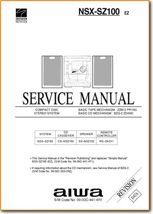 Aiwa NSXSZ-100 Mini Shelf System Main Technical Manual - PDF & Tech Help* | English