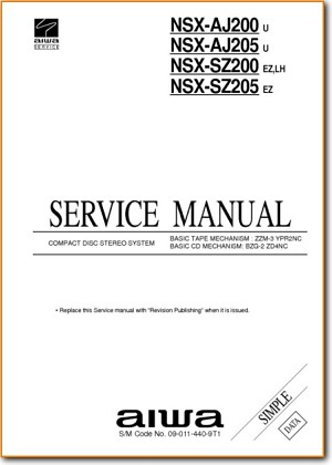 Aiwa NSXSZ-205 Mini Shelf System Main Technical Manual - PDF & Tech Help* | English