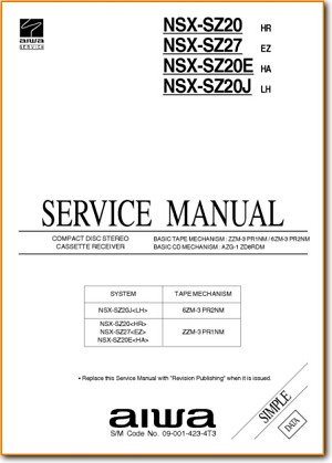 Aiwa NSXSZ-20 Mini Shelf System Addendum - B Technical Manual - PDF & Tech Help* | English