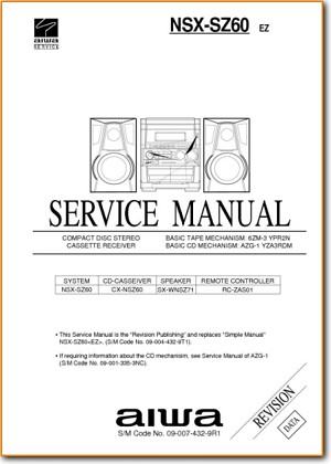 Aiwa NSXSZ-60 Mini Shelf System Main Technical Manual - PDF & Tech Help* | English