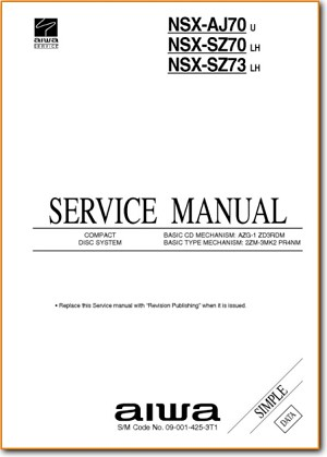 Aiwa NSXSZ-70 Mini Shelf System Main Technical Manual - PDF & Tech Help* | English