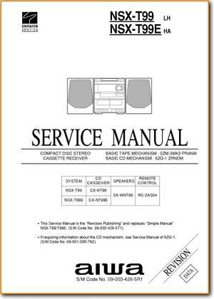 Aiwa NSXT-99 Mini Shelf System Main Technical Manual - PDF & Tech Help* | English