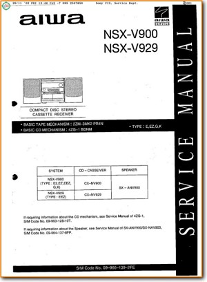 Aiwa NSXV-929 Mini Shelf System Main Technical Manual - PDF & Tech Help* | English