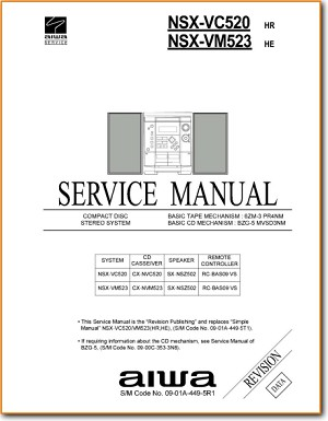 Aiwa NSXVC-520 Mini Shelf System Main Technical Manual - PDF & Tech Help* | English