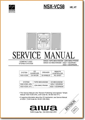 Aiwa NSXVC-58 Mini Shelf System Main Technical Manual - PDF & Tech Help* | English