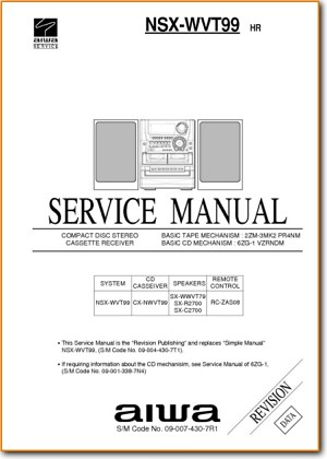 Aiwa NSXWVT-99 Mini Shelf System Main Schematics - PDF & Tech Help* | English