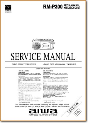 Aiwa RMP-300 Portable Stereo Main Technical Manual - PDF & Tech Help* | English