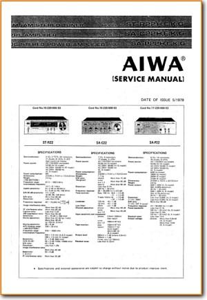 Aiwa SAP-22 Amp Receiver Main Technical Manual - PDF & Tech Help* | English
