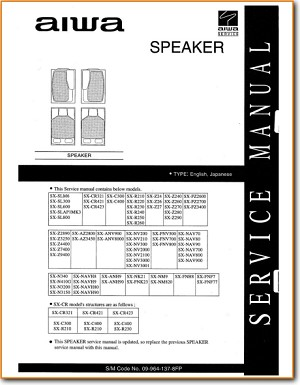 Aiwa SXNAV-700 Loudspeaker Main Technical Manual - PDF & Tech Help* | English