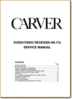carver hr-772 solid state amp receiver - on demand pdf download | english