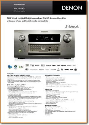 Denon AVCA 1 HD Amp Receiver Main Brochure