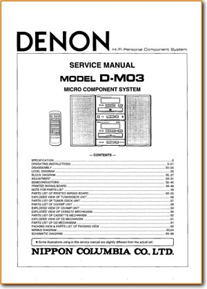 Denon DM-03 Mini Shelf System Main Technical Manual - PDF & Tech Help* |  English