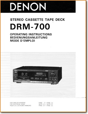Denon DRM-700 Tape Player Main User Book - PDF & Tech Help* | English