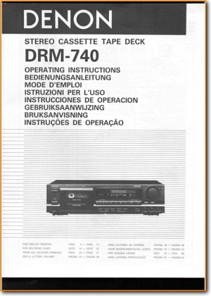 Denon DRM-740 Tape Player Main User Book - PDF & Tech Help* | English