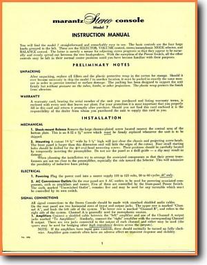 Marantz 7 Tube Amplifier Main User Book - PDF & Tech Help* | English