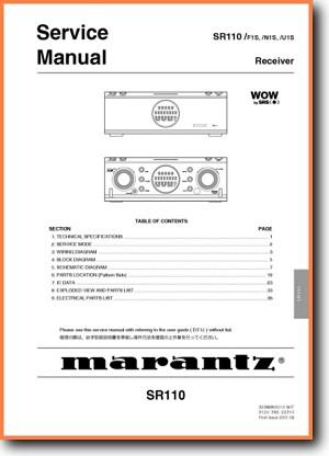 Marantz Sr 110 Solid State Amp Receiver On Demand Pdf Download English