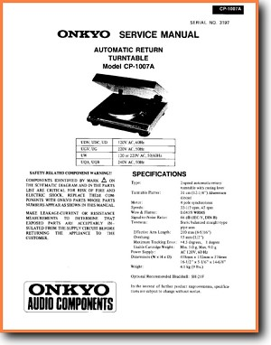 Onkyo CP-1007-A Turntable Record Player Main Technical Manual - PDF & Tech  Help* | English