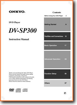 Onkyo DVSP-300 DVD Player Main User Book - PDF & Tech Help* | English