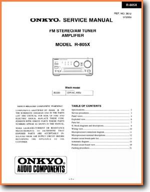 Onkyo r-805x sm service manual download, schematics, eeprom.