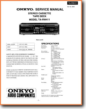 Onkyo TARW-411 Tape Player Main Technical Manual - PDF & Tech Help* | English