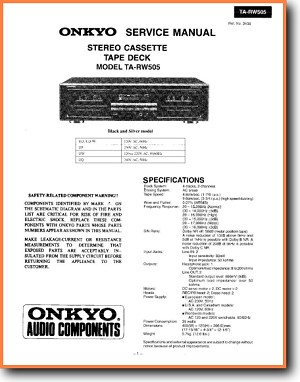 Onkyo TARW-505 Tape Player Main Technical Manual - PDF & Tech Help* | English