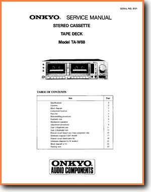 Onkyo TARW-88 Tape Player Main Technical Manual - PDF & Tech Help* | English