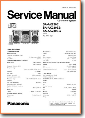Panasonic SAAK-230-EG Mini Shelf System Main Technical Manual - PDF & Tech Help* | English
