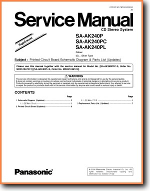 Panasonic SAAK-240-PC Mini Shelf System Addendum - A Technical Manual - PDF & Tech Help* | English