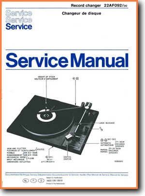 Philips 22-AF-092 Turntable Record Player Main Technical Manual - PDF & Tech Help* | English