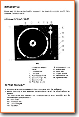Philips 7509 Turntable Record Player Main User Book - PDF & Tech Help* | English