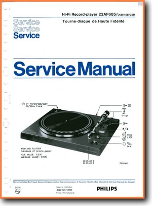 Philips AF-685 Turntable Record Player Main Technical Manual - PDF & Tech Help* | English