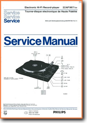 Philips AF-967 Turntable Record Player Main Technical Manual - PDF & Tech Help* | English