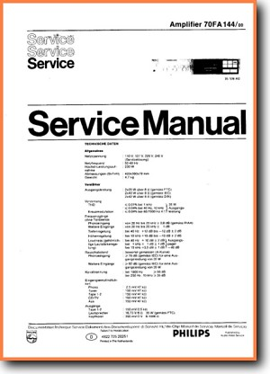 Philips FA-144 Amp Receiver Main Technical Manual - PDF & Tech Help* | English