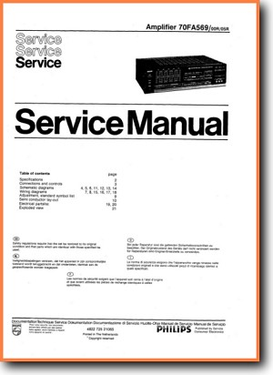 Philips FA-569 Amp Receiver Main Technical Manual - PDF & Tech Help* | English