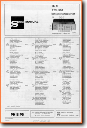 Philips RH-590 Amp Receiver Main Technical Manual - PDF & Tech Help* | English