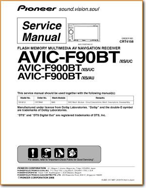 Pioneer AVICF-900-BT Automotive GPS NAV Main Technical Manual - PDF & Tech  Help* | English