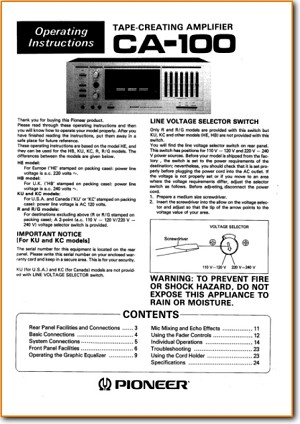 Pioneer CA-100 Amp Receiver Main User Book - PDF & Tech Help* | English