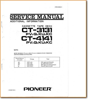 Pioneer CT-4141 Tape Player Addendum - A Technical Manual - PDF & Tech Help* | English