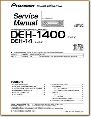 Pioneer DEH-1400 Automotive Audio - On Demand PDF Download | English