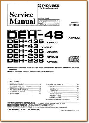 Pioneer DEH-235 Automotive Audio Main Technical Manual - PDF & Tech on