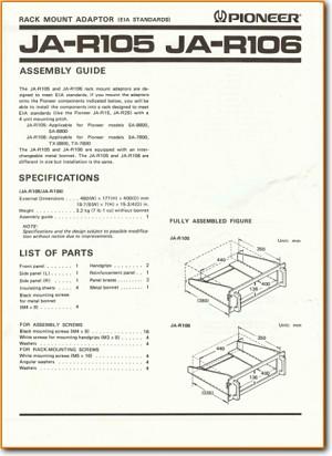 Pioneer JAR-105 Furniture Main User Book - PDF & Tech Help* | English