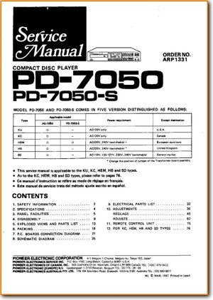 Pioneer Pd 7050 S Cd Player On Demand Pdf Download English
