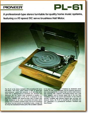 Pioneer PL-61 Turntable Record Player Main Brochure - PDF & Tech Help* | English