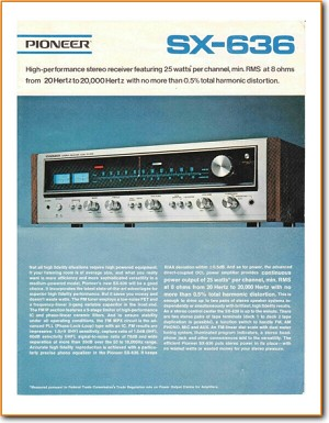 Pioneer SX-636 Amp Receiver Main Brochure - PDF & Tech Help* | English
